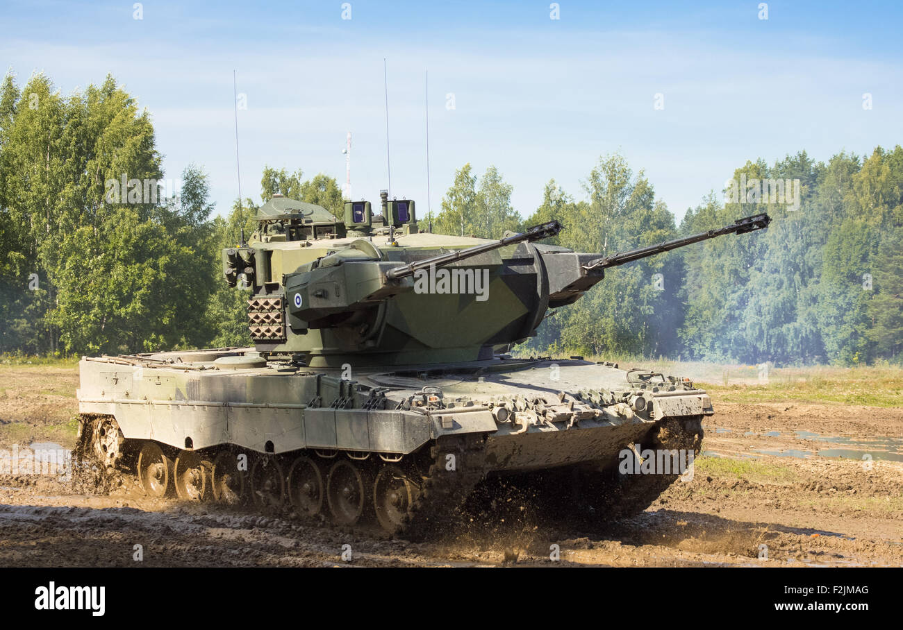 Self Propelled Cart >> Leopard 2 Marksman self-propelled anti-aircraft gun of the Finnish Stock Photo, Royalty Free ...