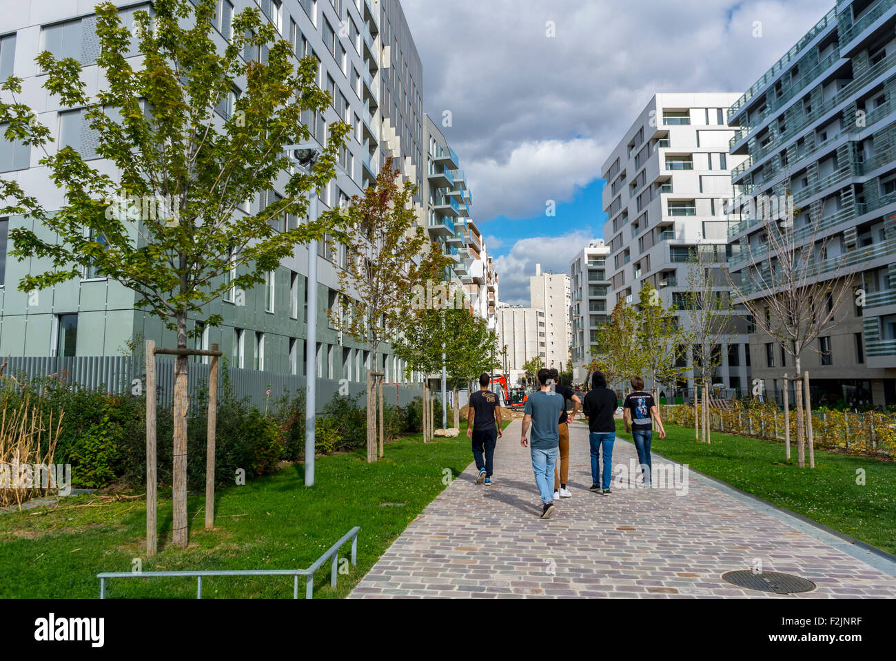 Modern Architecture France paris, france, group french teens walking on street, new modern