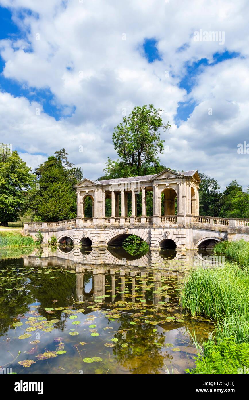 The Palladian Bridge, Stowe Landscape Gardens, Stowe House,  Buckinghamshire, England, UK