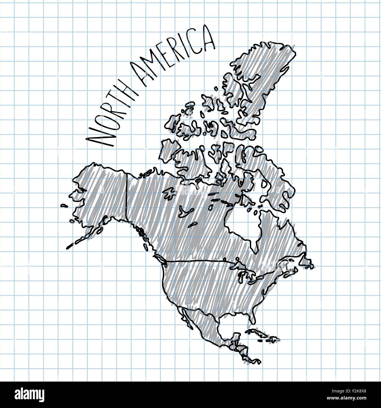 Pencil Hand Drawn North America Map Vector On Paper Illustration - North america map drawing
