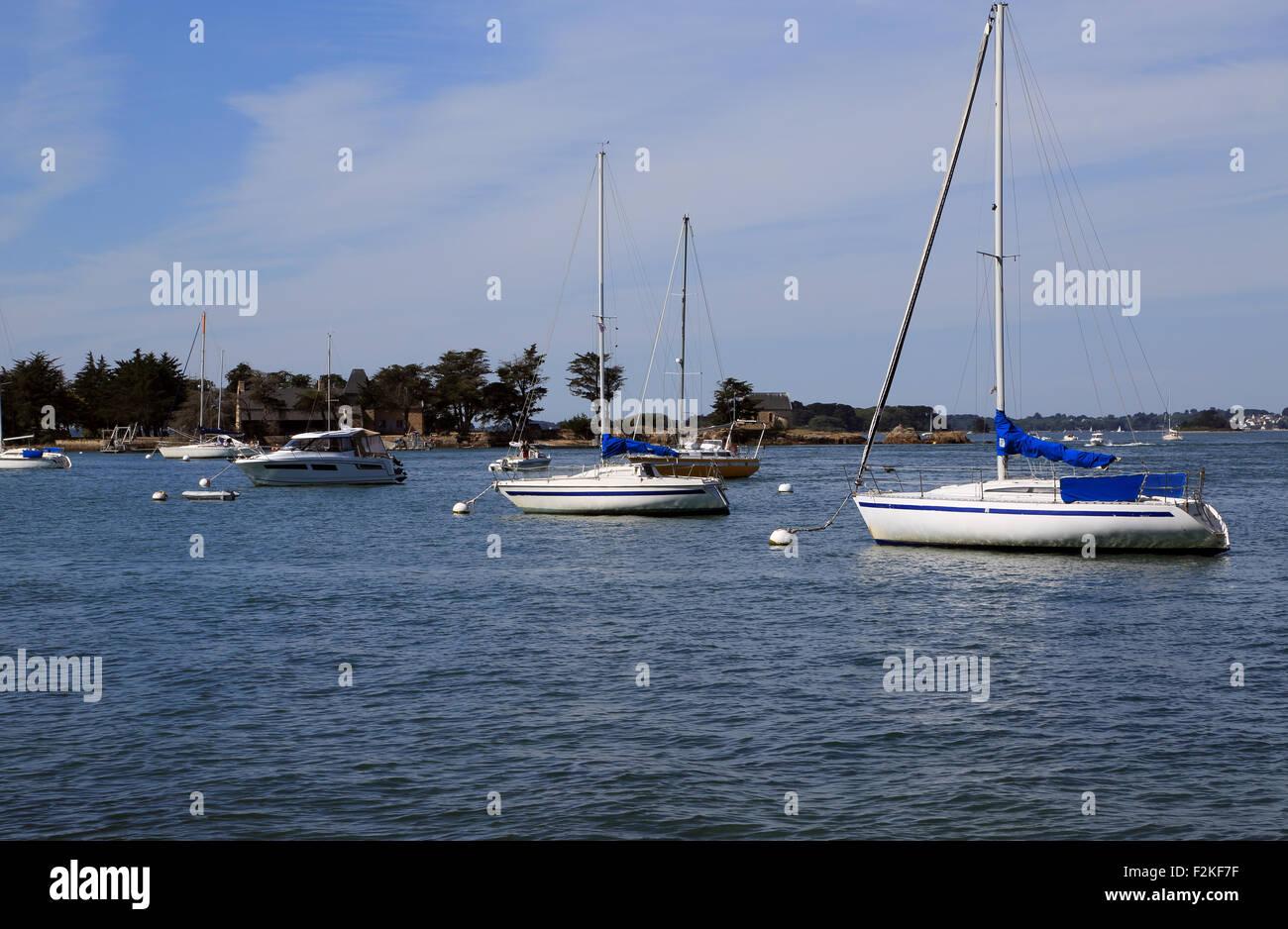 Moored sailing boats and Ile de Boedic from Port Anna, Sene ...