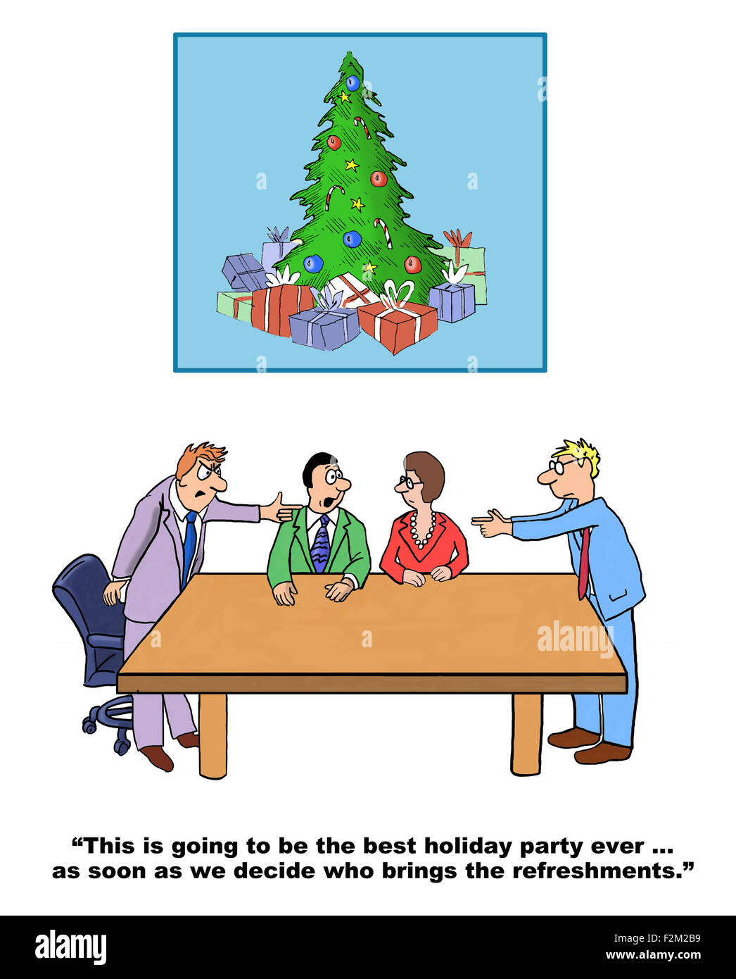 business cartoon showing people in a committee meeting this is going to be the best holiday party everbrings refreshments - Holiday Cartoons Free