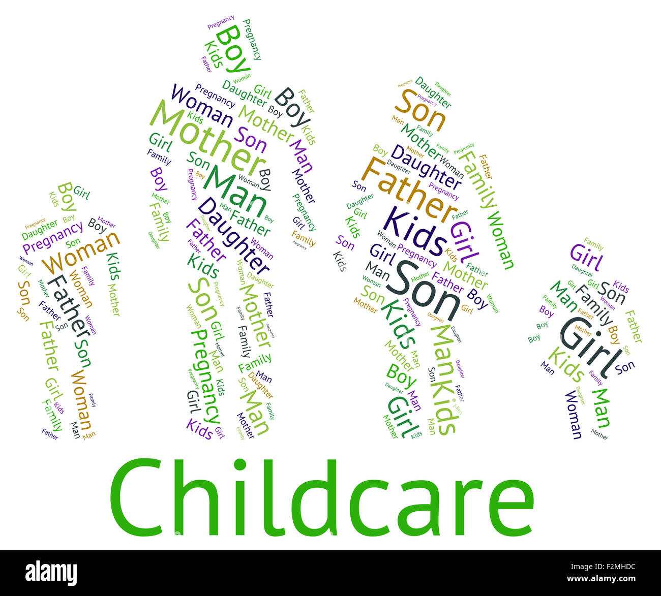Childcare Word Meaning Looking After And Babysitter Stock Photo ...