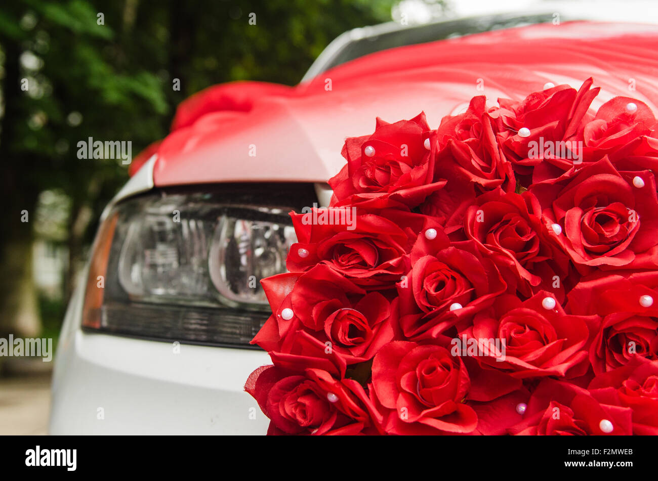 Design of bridal car - Wedding Car Decorated With Red Roses