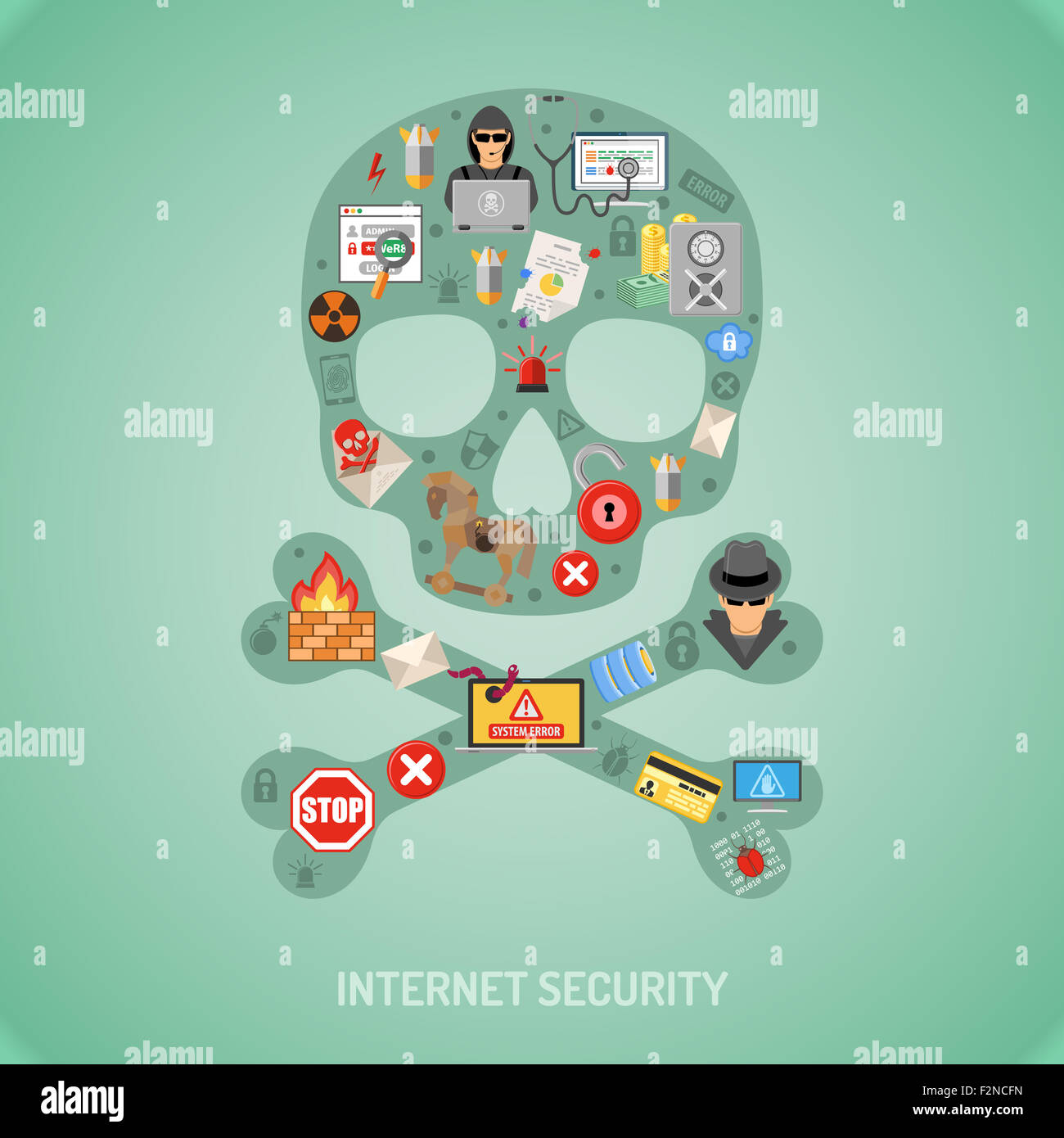 Poster design site - Internet Security Concept With Flat Icon Set For Flyer Poster Web Site Printing Advertising Like Hacker Virus Spam And Thie