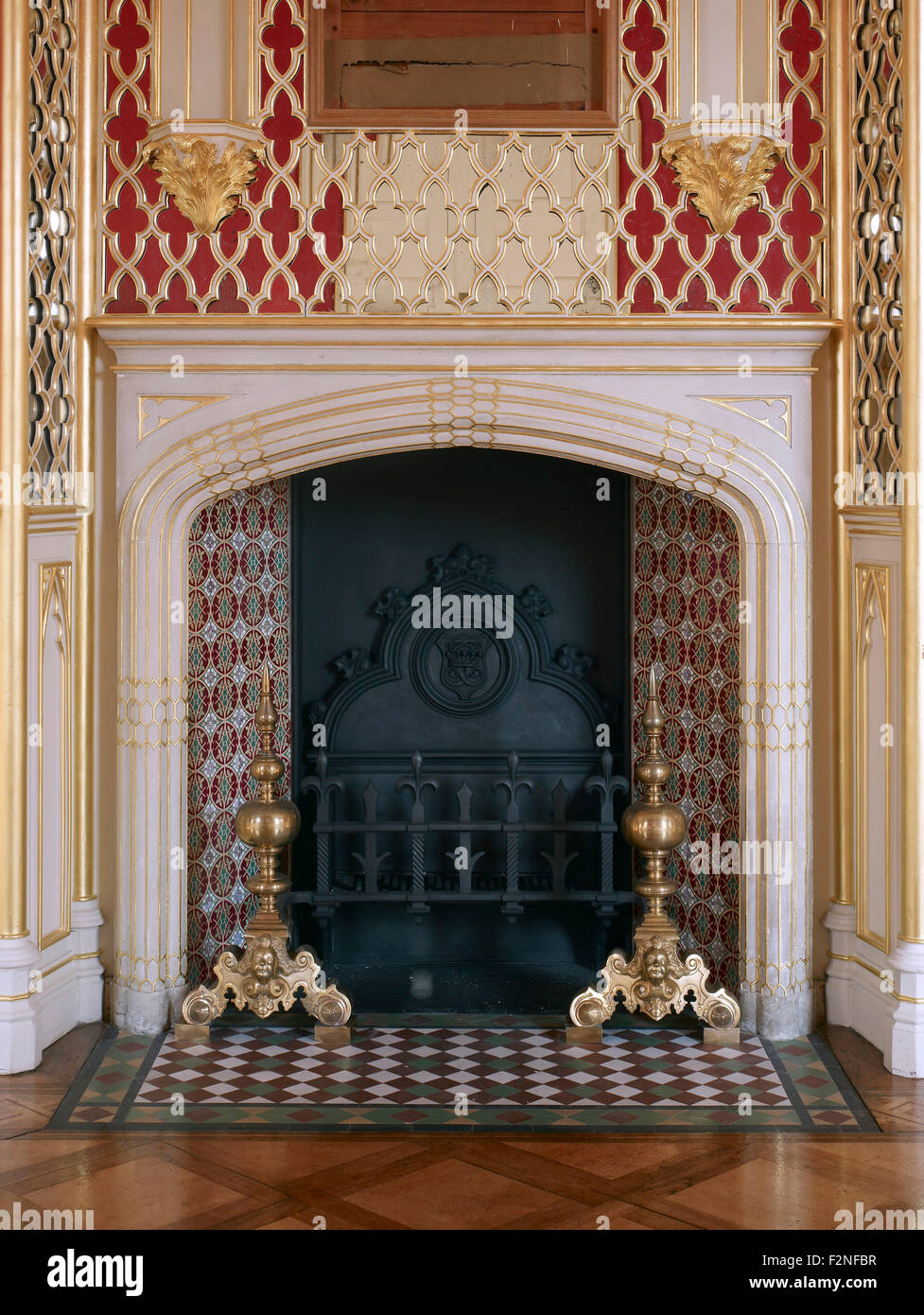 long gallery fireplace gothic tracery strawberry hill house