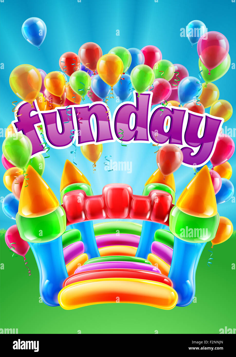 A bouncy castle and balloons funday event invite poster ...