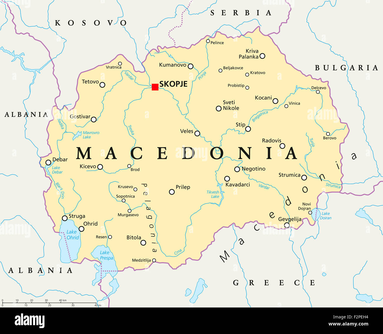 Macedonia political map with capital skopje national borders macedonia political map with capital skopje national borders important cities rivers and lakes publicscrutiny Image collections