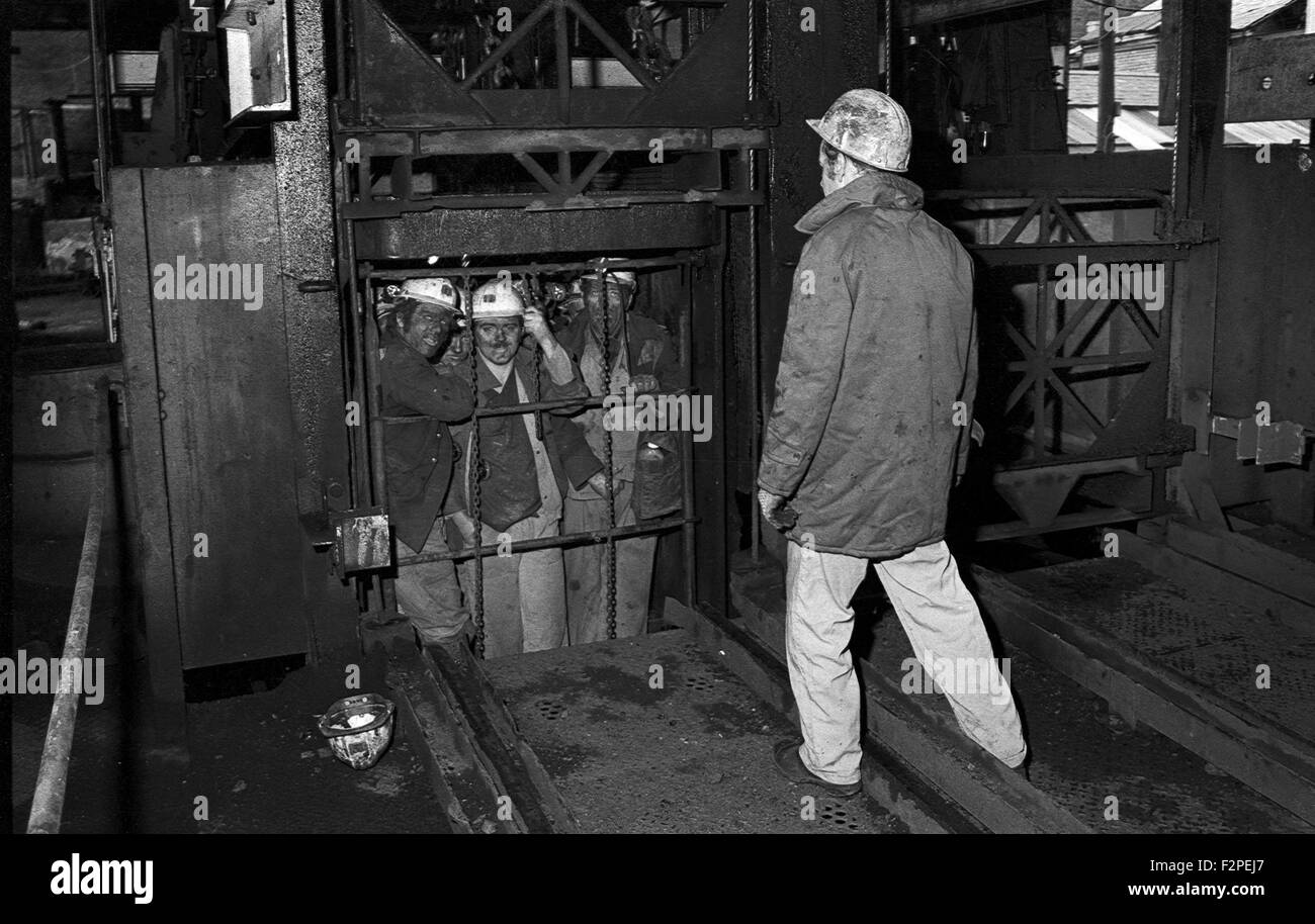 Miners Emerging In The Cage After Completing A Shift On