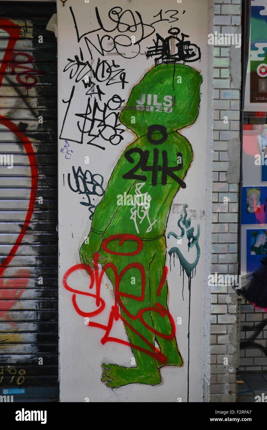 Graffiti wall tokyo - Stock Photo Wall With Tags And Graffiti Harajuku Tokyo