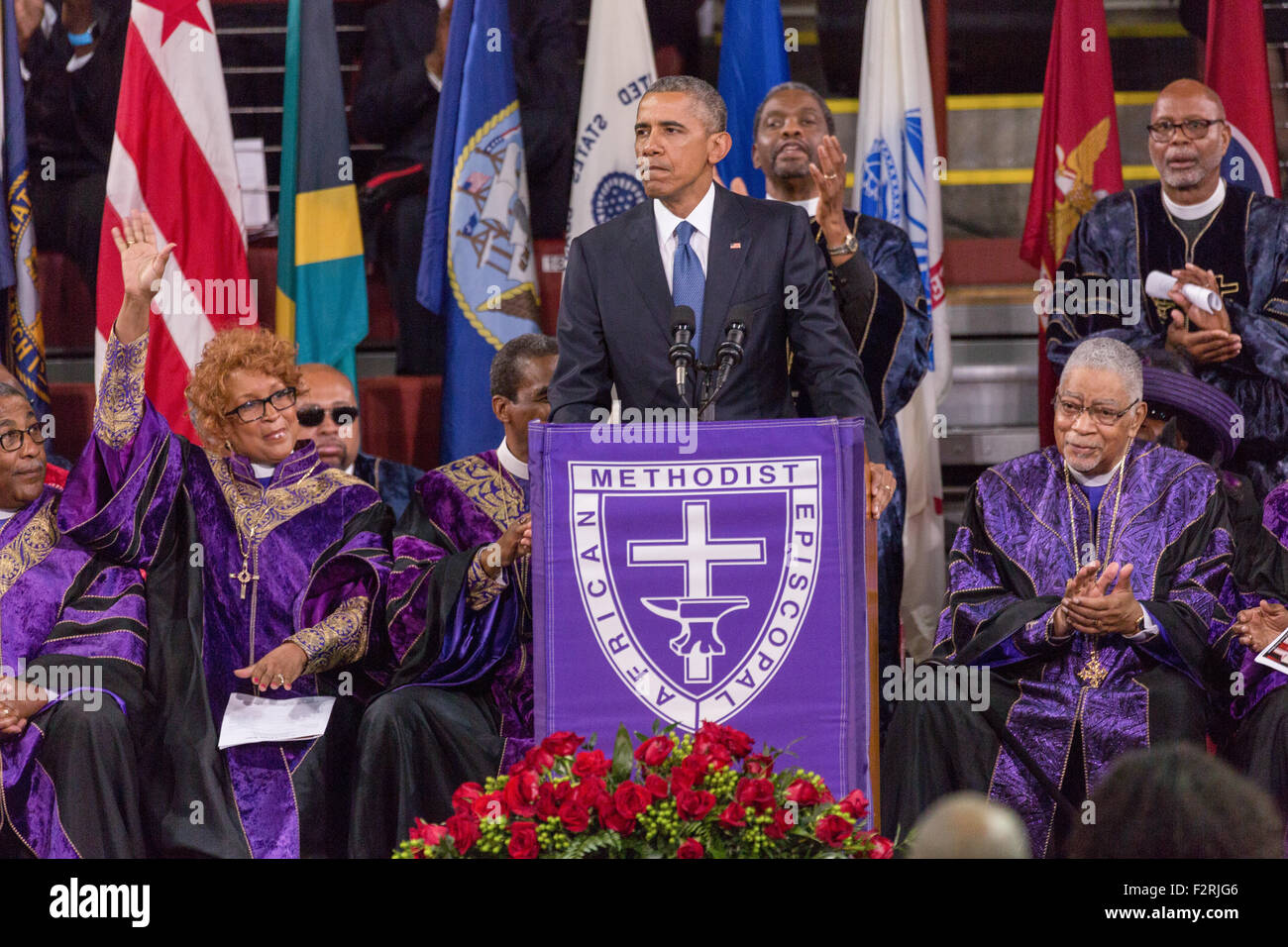 U.S. President Barack Obama surrounded by Bishops from the ...
