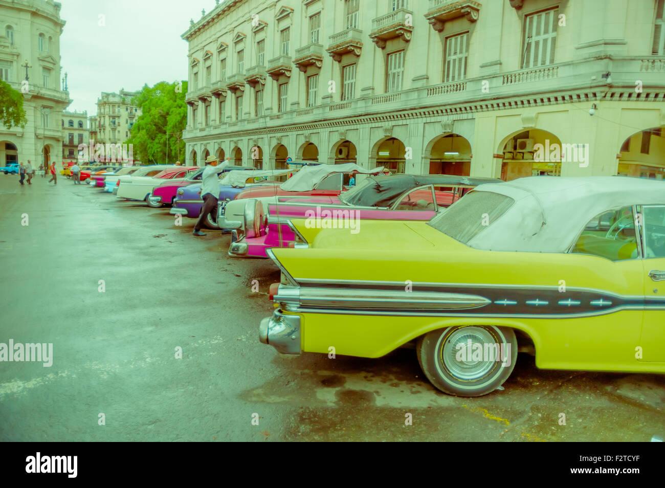 HAVANA, CUBA - DECEMBER 2, 2013: Old classic American cars rides in ...