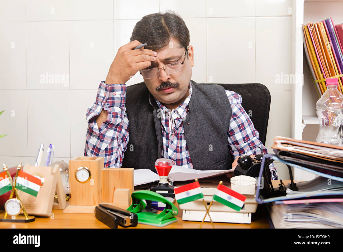 1 indian Man Government Employee office working Problem ...