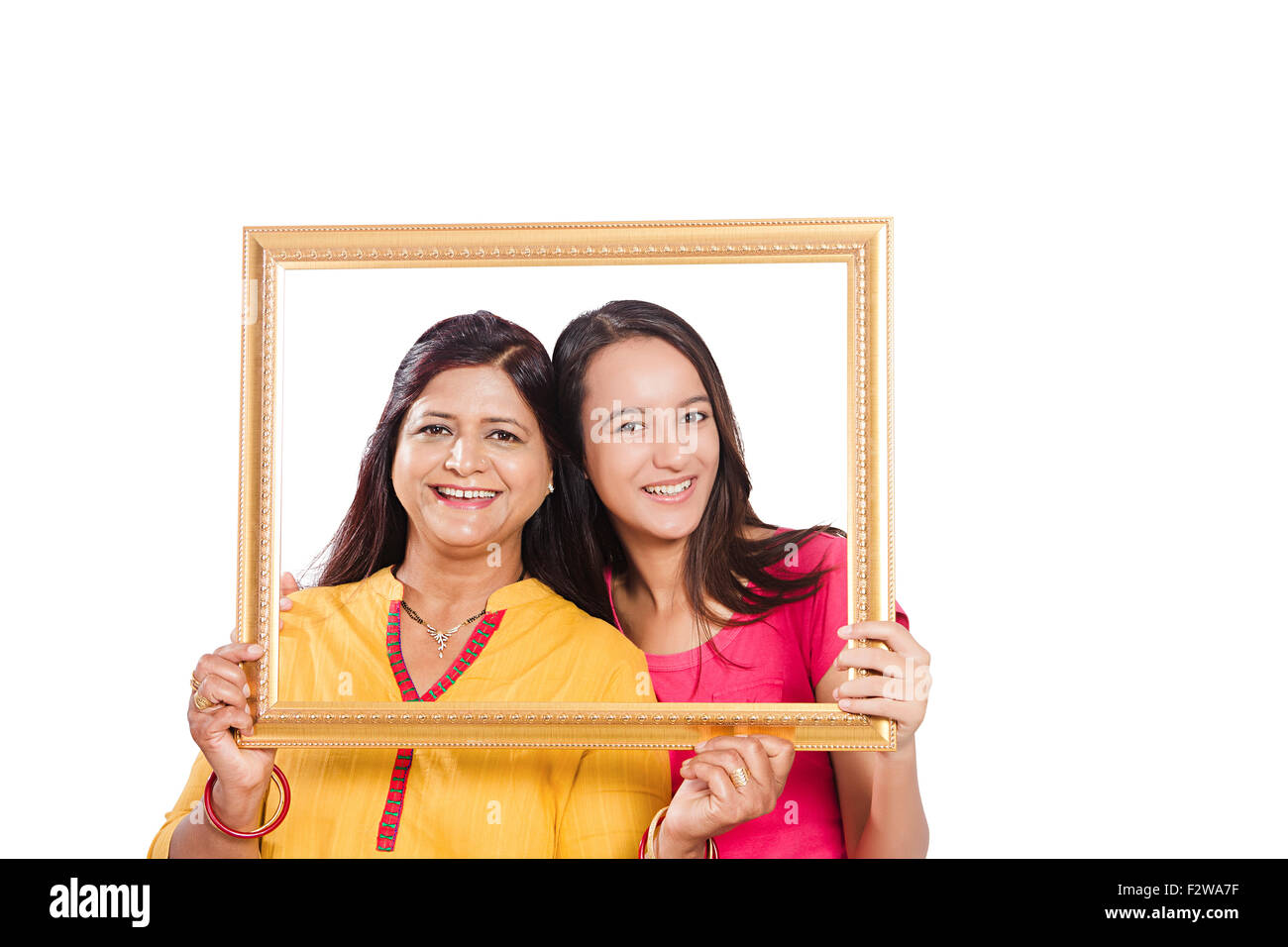2 indian mother and young daughter frame picture showing - Mother Daughter Picture Frame
