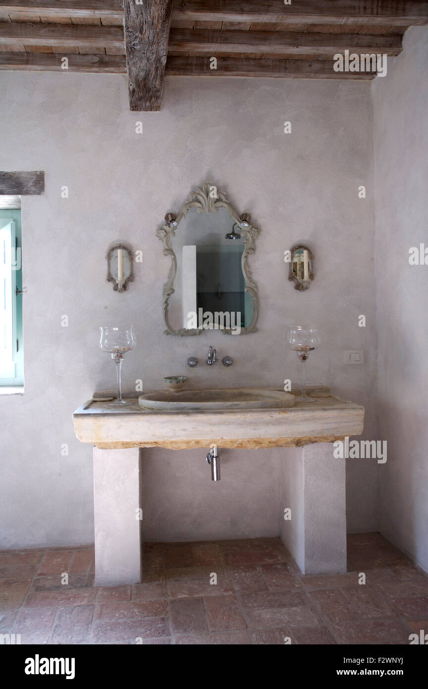 Ornate Mirror Above Washbasin In Stone Vanity Unit In Rustic Italian Stock Photo Royalty Free