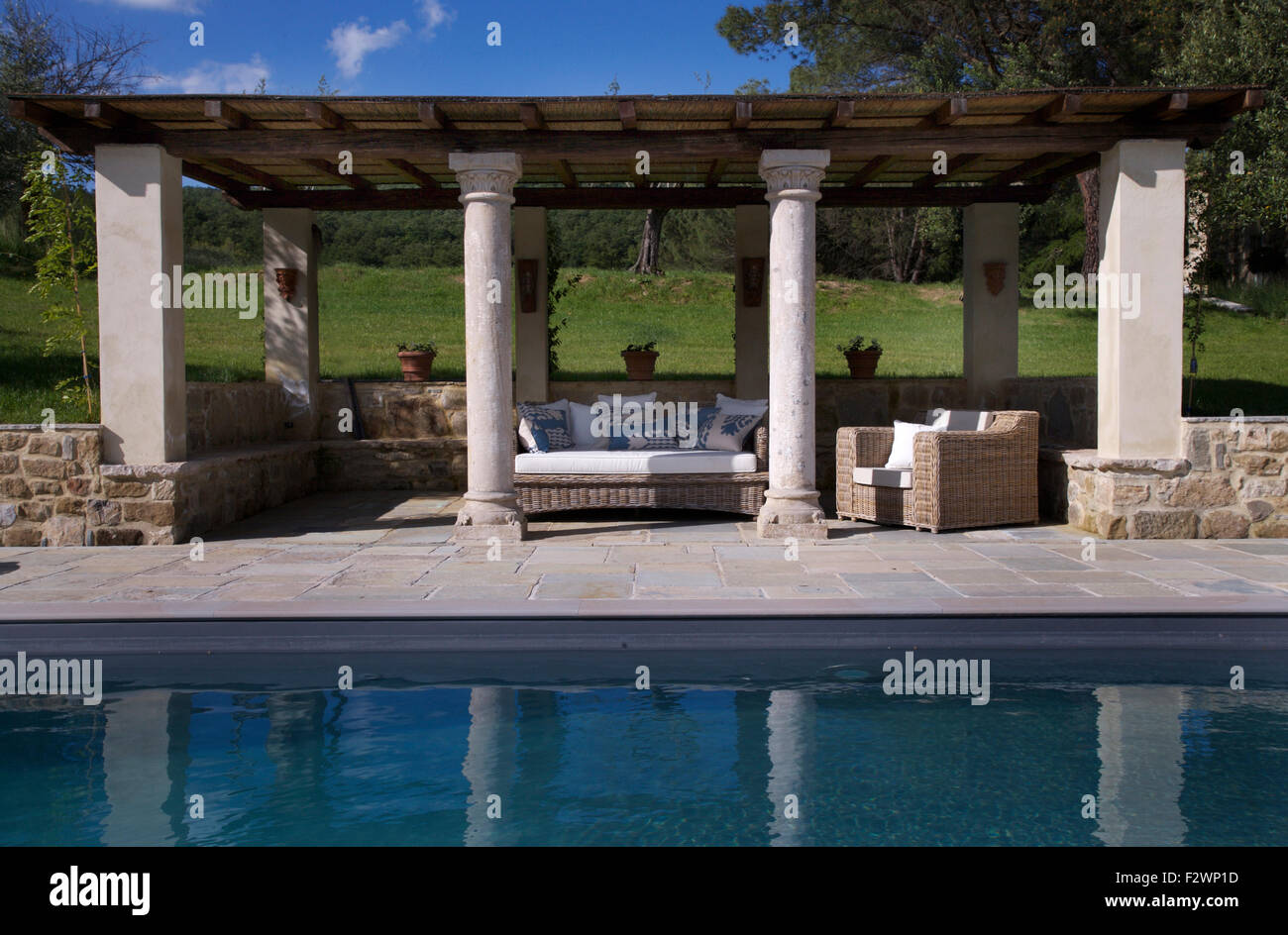 Italian country gardens - Stock Photo Wicker Sofas On Terrace With Pillars And Beamed Roof Beside Swimming Pool In Italian Country Garden