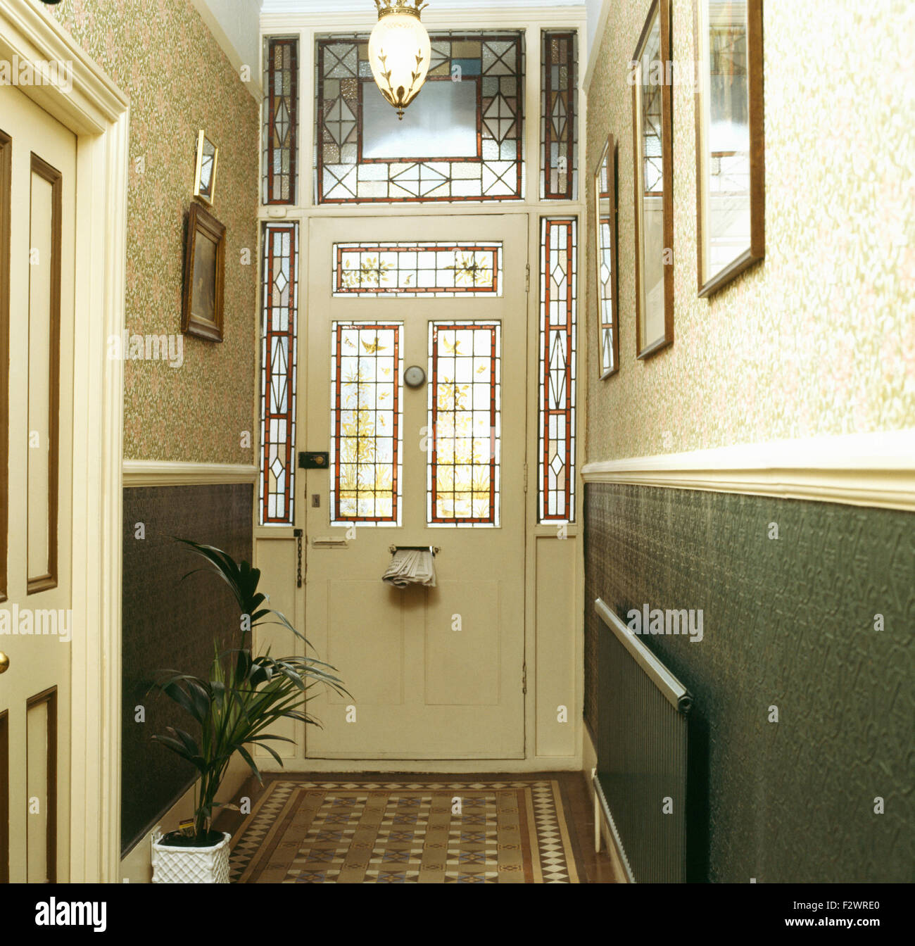 Stained Glass Panels In Front Door Victorian Style Hall With William Morris Wallpaper Above Dado