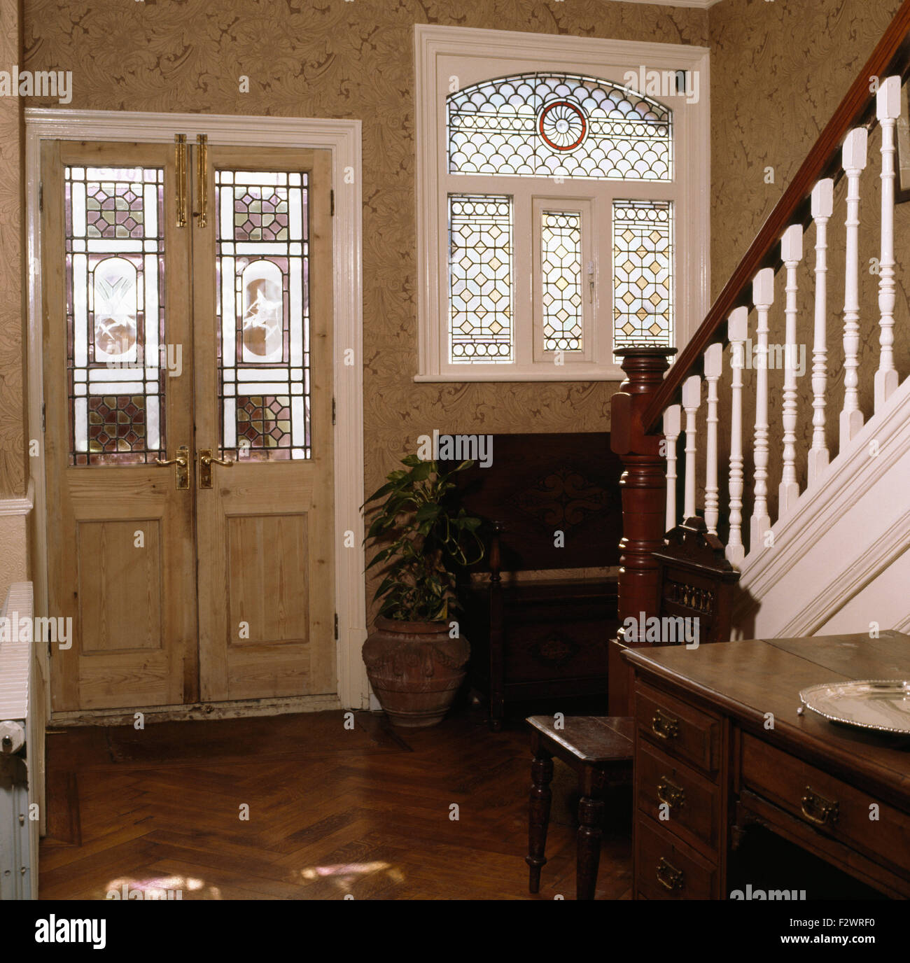 Stained Glass Panels In Door And Window Victorian Style Hall