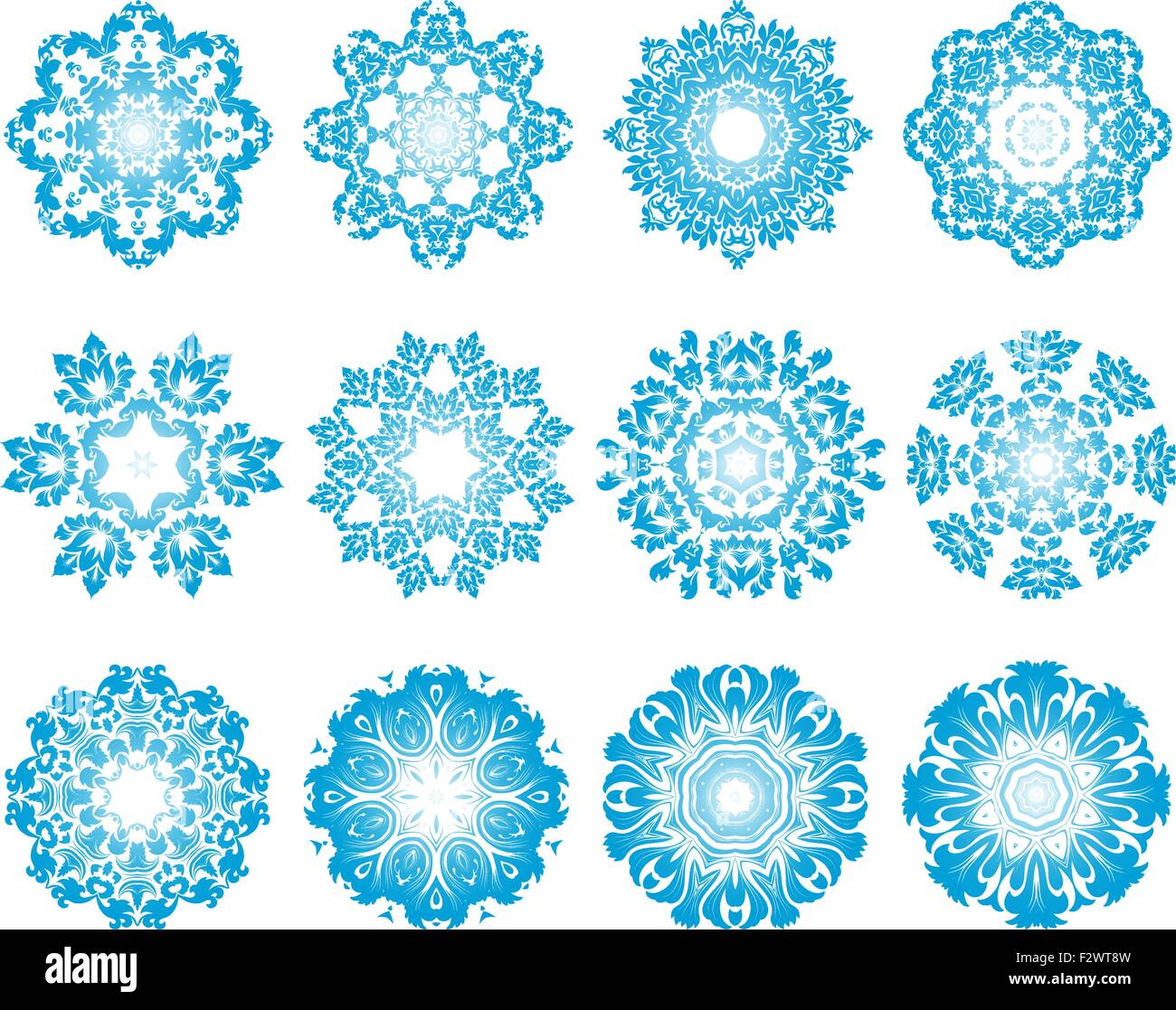 Snowflakes ornaments - Set Of Twelve Circle Snowflakes Ornaments Vector Illustration