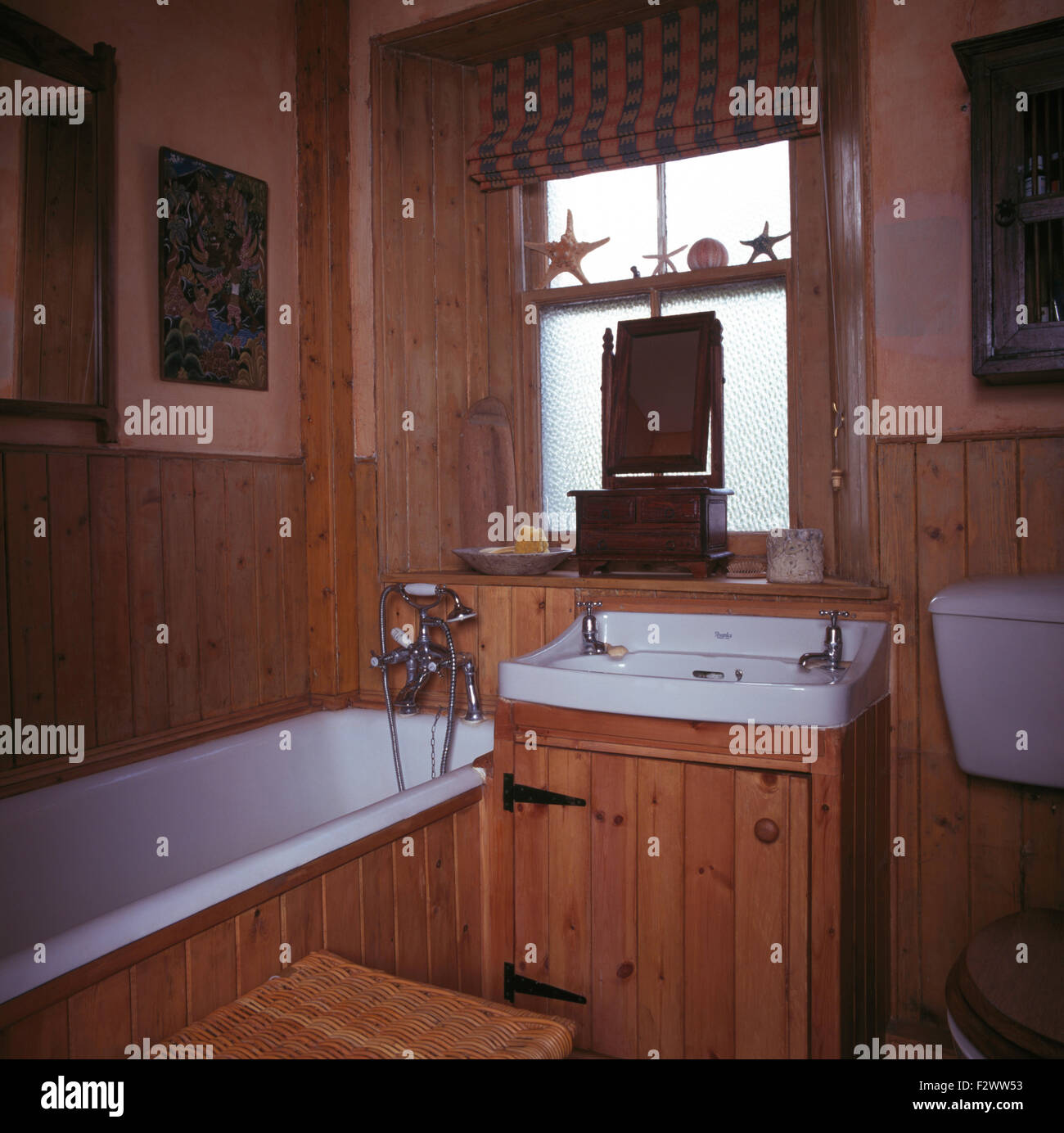 Pine Bathroom Vanity Unit: Blind On Frosted Window Above Basin In Pine Vanity Unit In