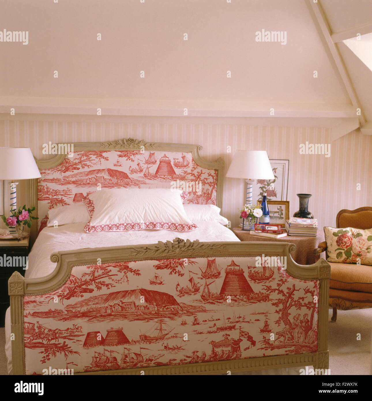 Pink+white Toile De Jouy Upholstered Bed In Traditional Bedroom