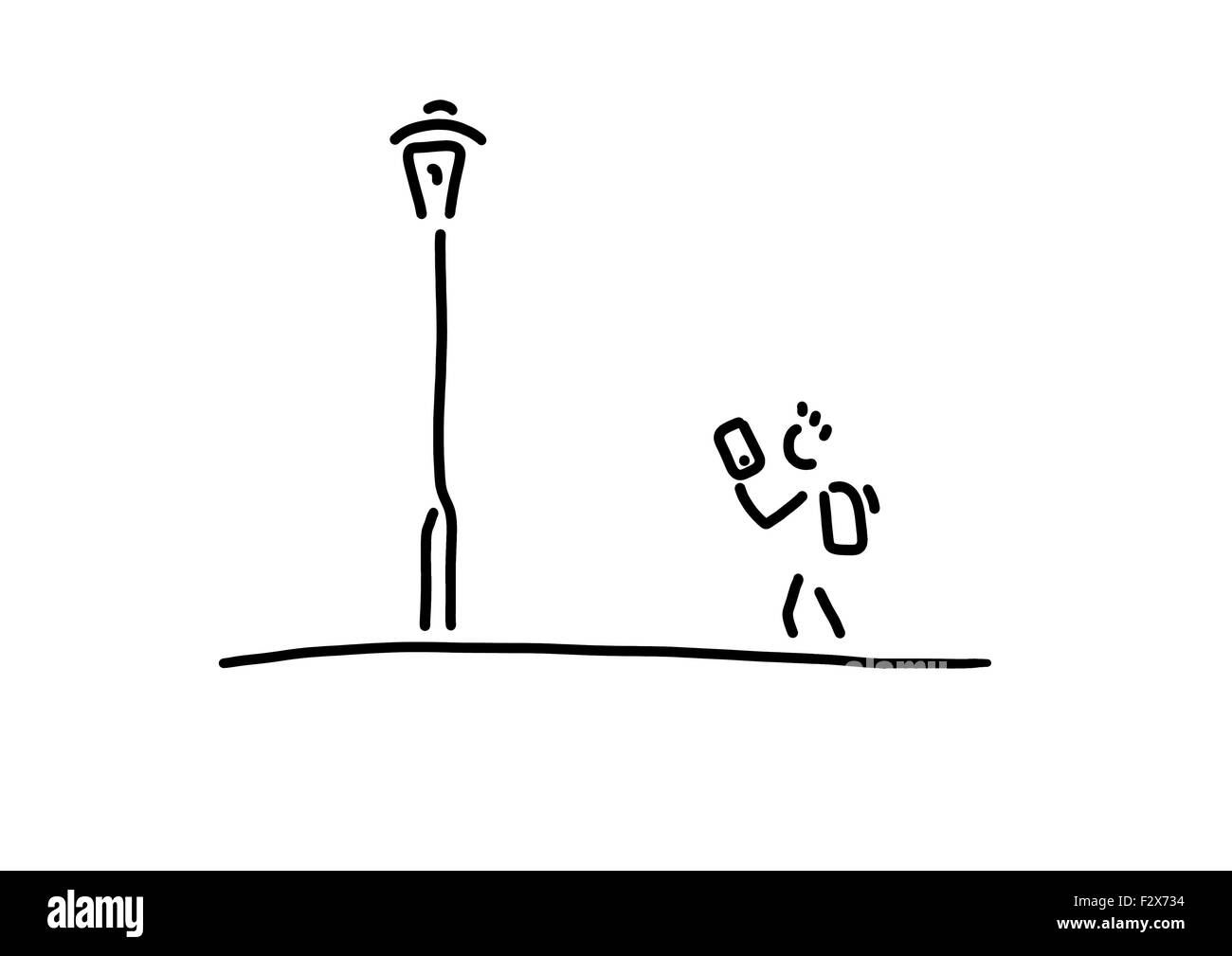 Pupil with smartphone, street light, line drawing, black and white ... for Street Light Drawing  55jwn