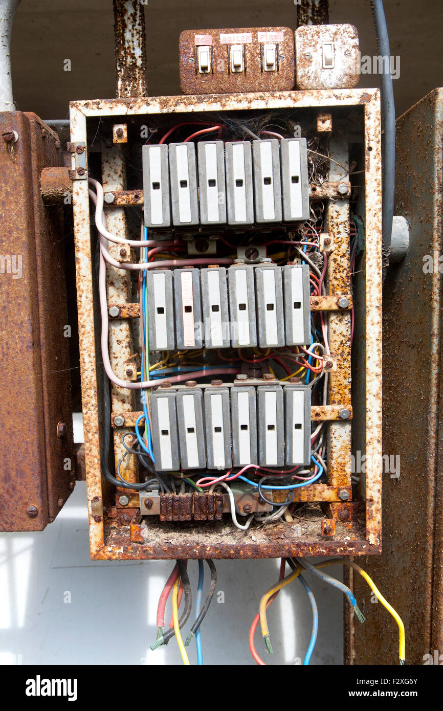 old rusty electrical fuse box uk F2XG6Y old rusty electrical fuse box, uk stock photo, royalty free image electrical fuse box at panicattacktreatment.co