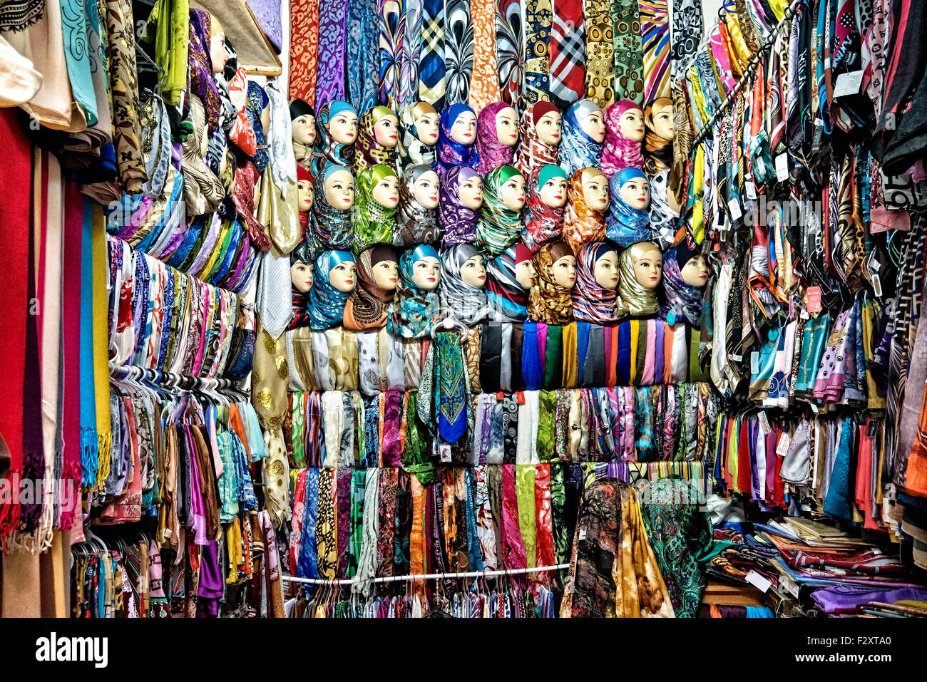 Scarf and hijab shop in Fez old medina, Morocco Stock Photo ...