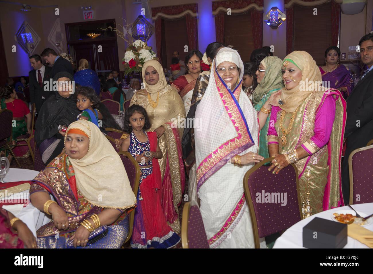 Guests At A Bangladeshi Muslim Wedding Reception In