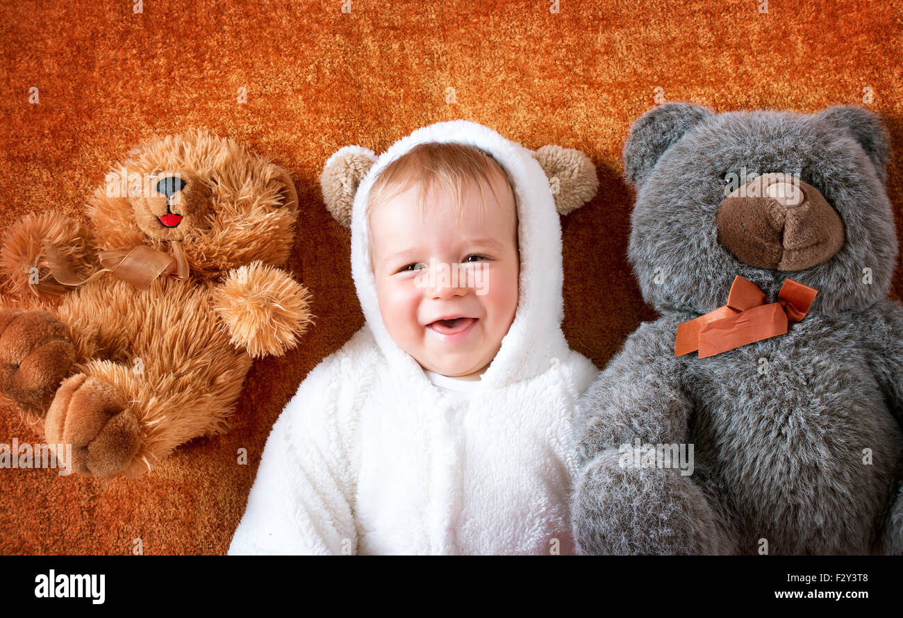 Little baby in bear costume with plush toys  sc 1 st  Alamy & Little baby in bear costume with plush toys Stock Photo: 87876888 ...