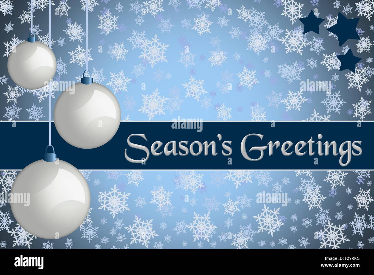 Christmas greeting card seasons greetings blue colored christmas greeting card seasons greetings blue colored christmas card with retro white baubles and snowflake background kristyandbryce Choice Image