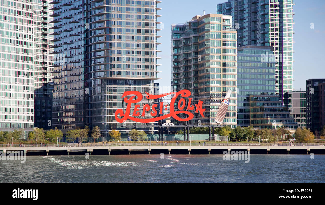 Historic landmark Pepsi Cola sign before recently-constructed ...