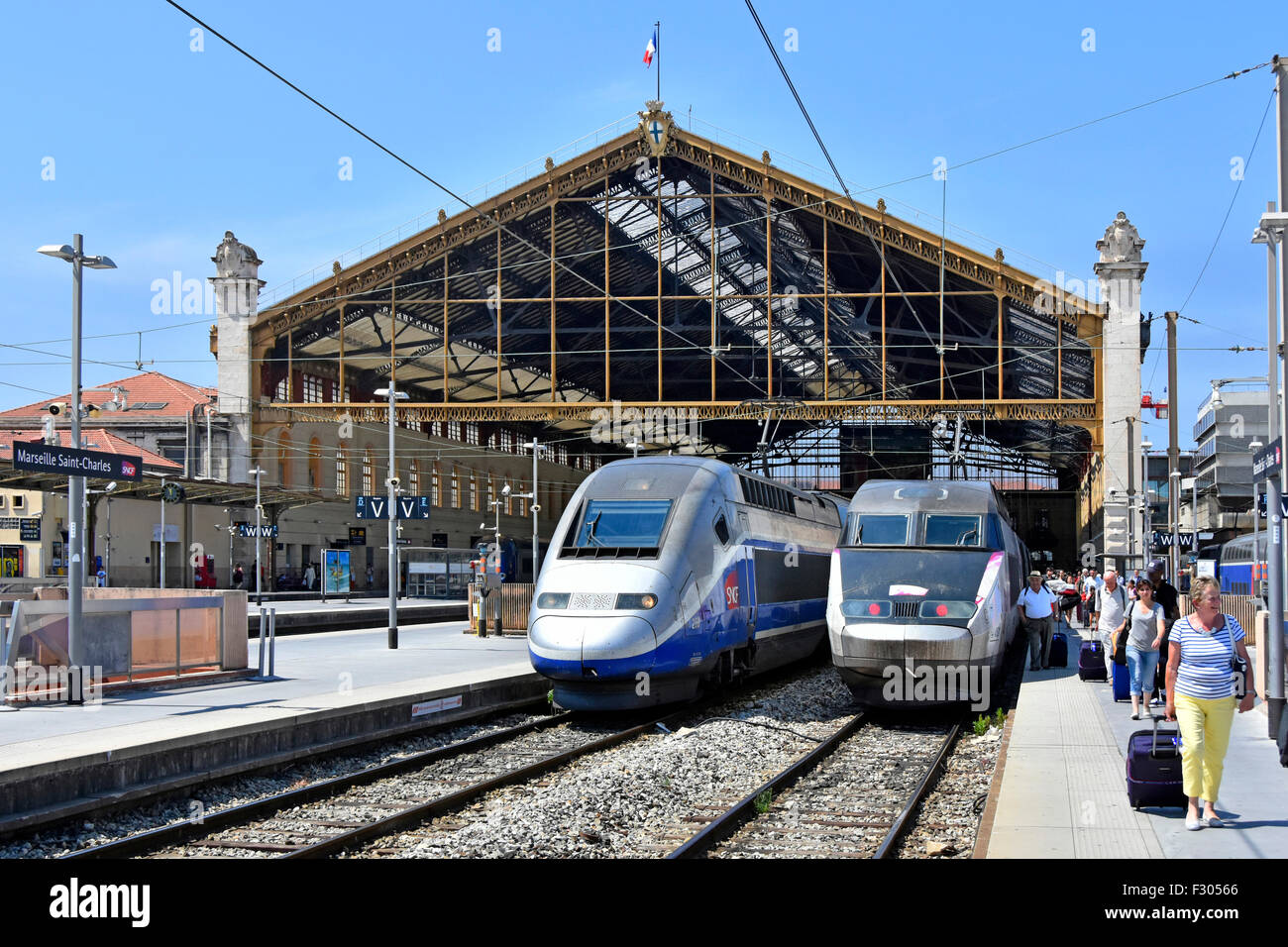 france sncf tgv high speed trains at marseille saint
