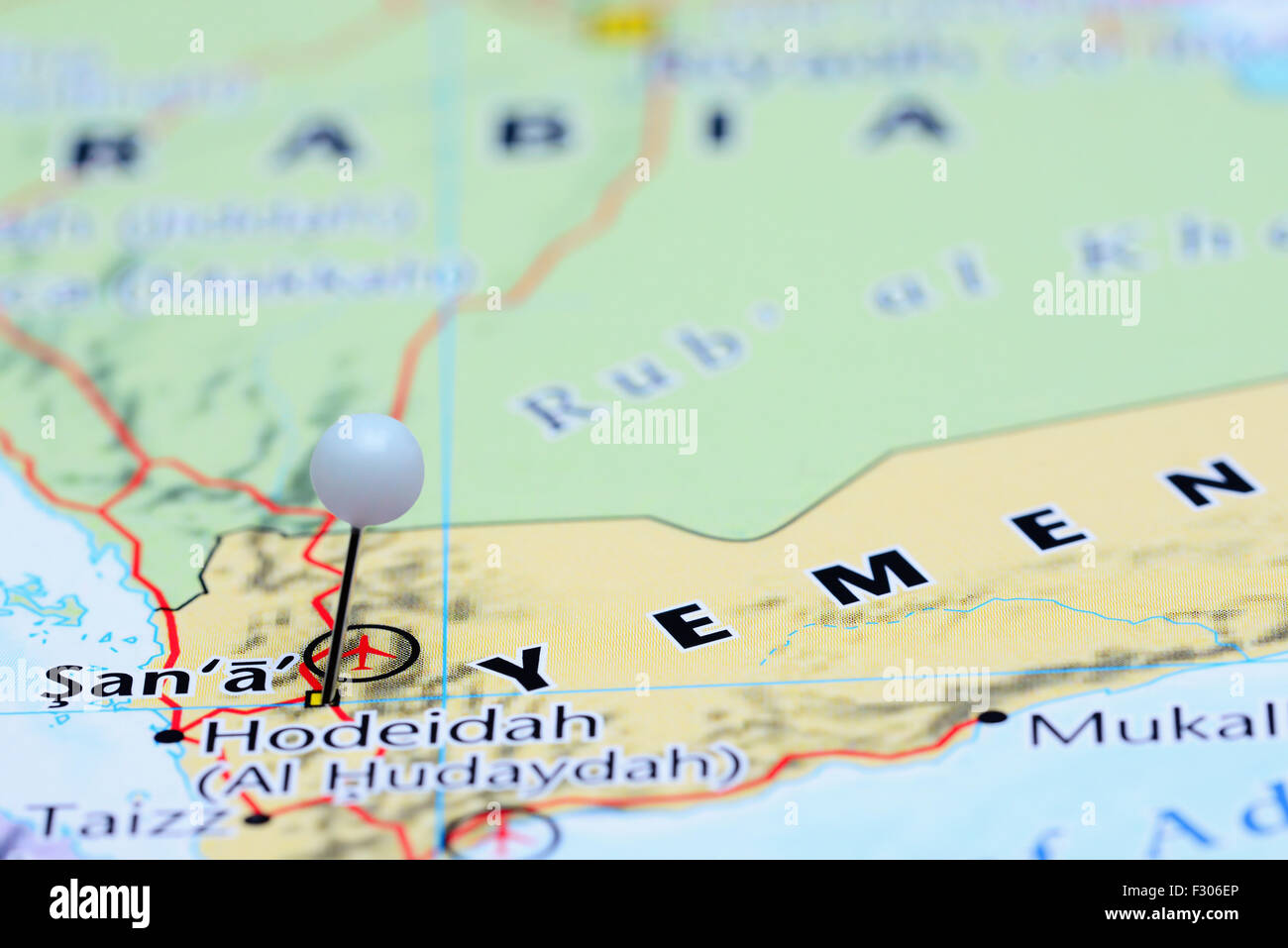 Sanaa Pinned On A Map Of Asia Stock Photo Royalty Free Image - Sanaa map