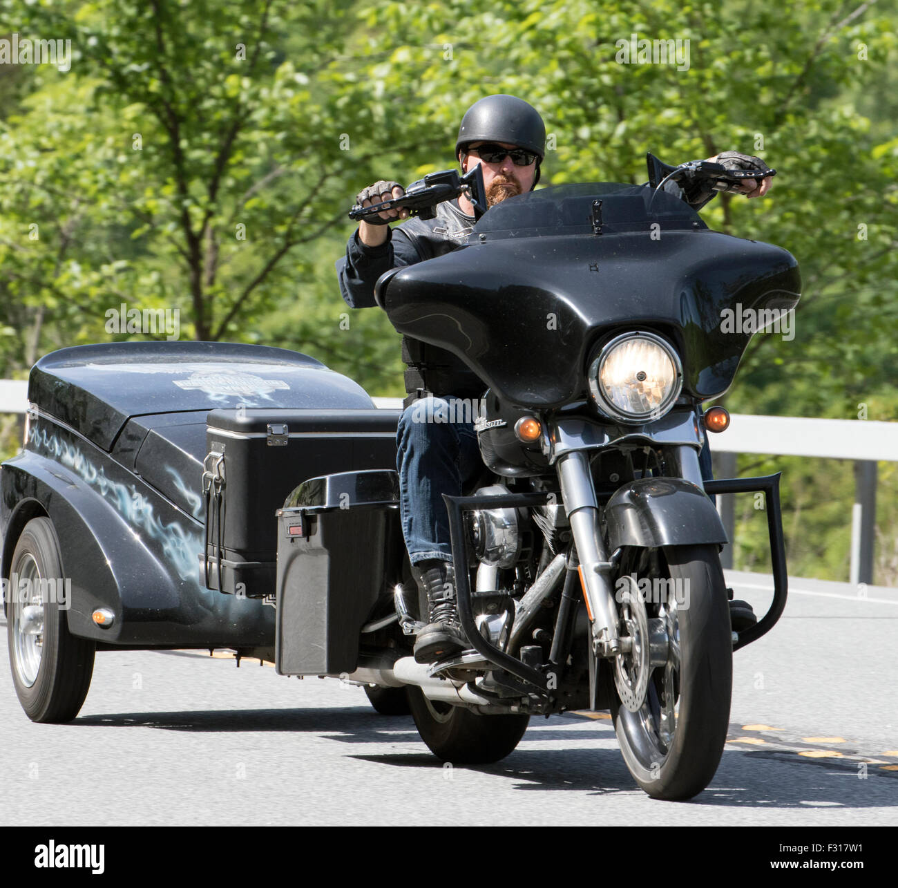 harley davidson motorcycle and trailer stock photo, royalty free