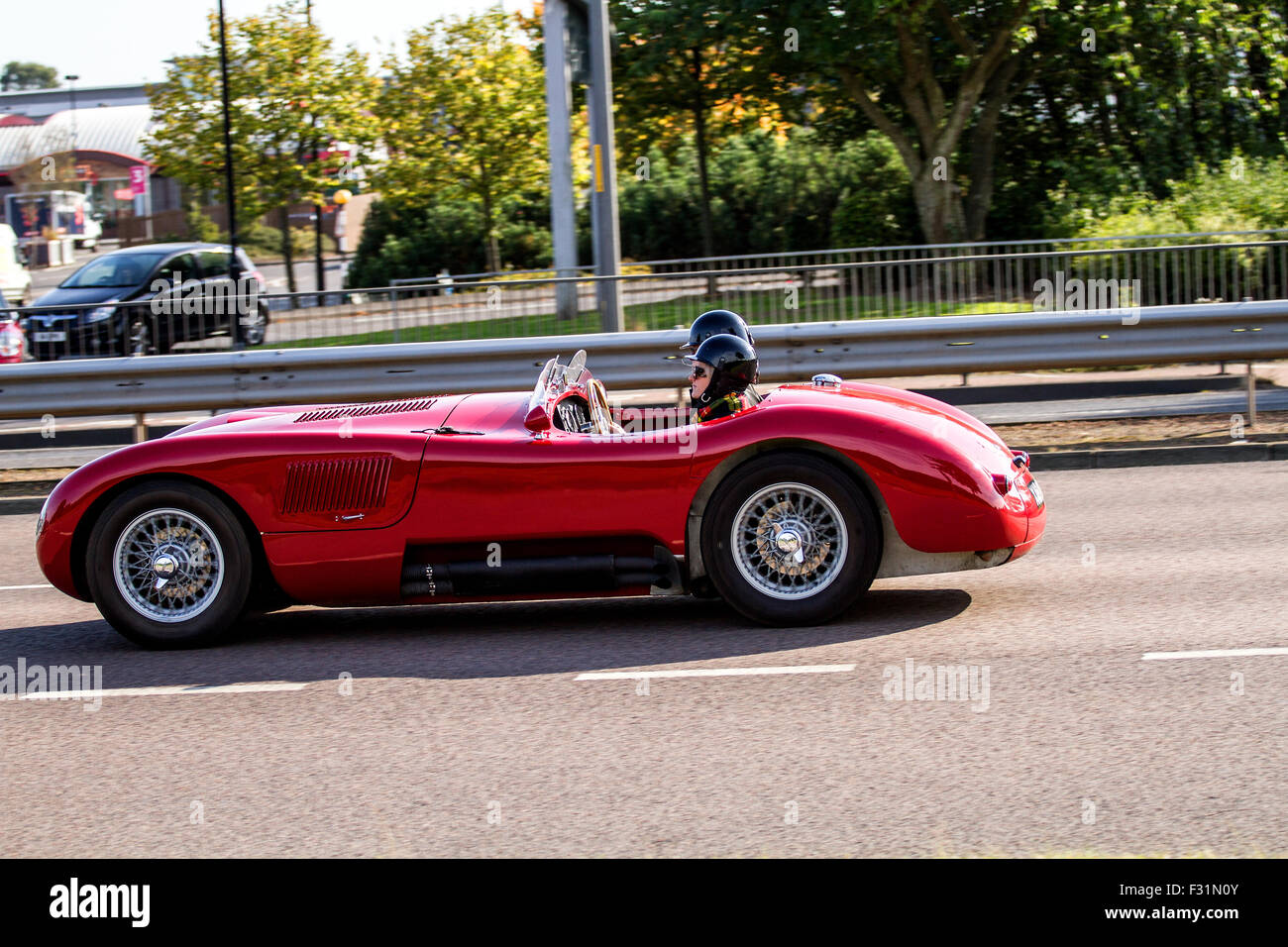 A Vintage 1953 Jaguar C Type Replica Sports Car Convertible Travelling  Along The Kingsway West Dual Carriageway In Dundee, UK