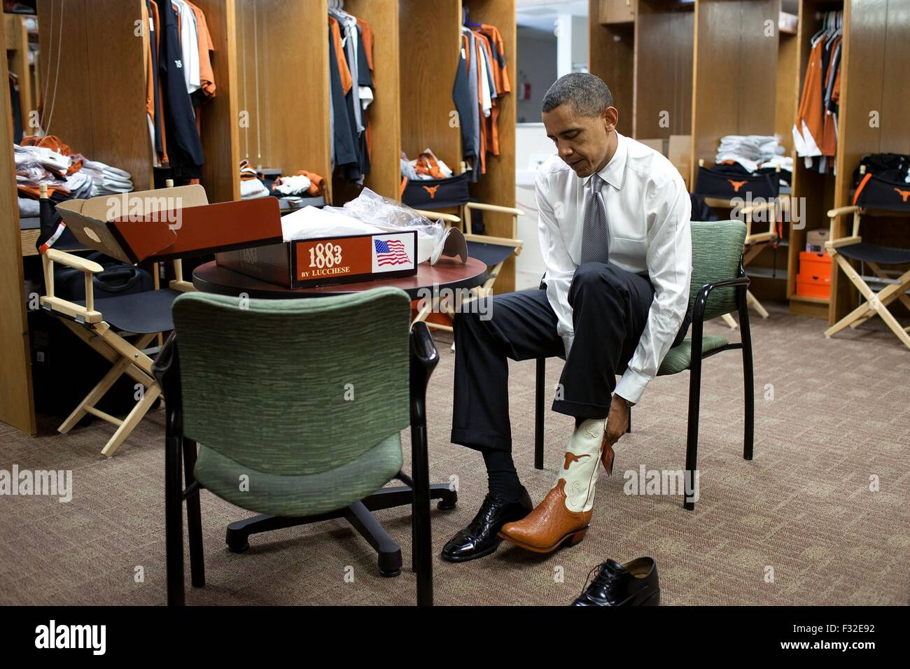 U.s. President Barack Obama Tries On A Pair Of Cowboy Boots At The ...