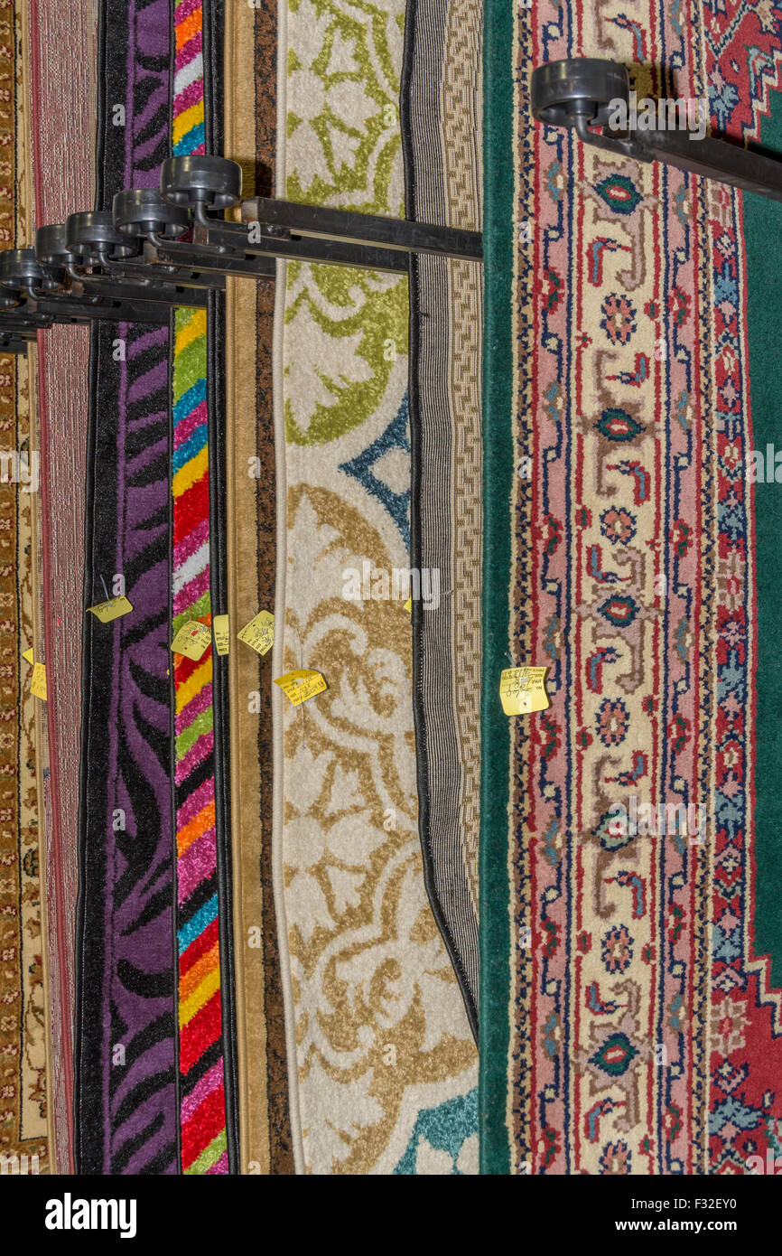 Hanging Rugs Hanging Rugs For Sale In An Indoor Flea Market Stock Photo
