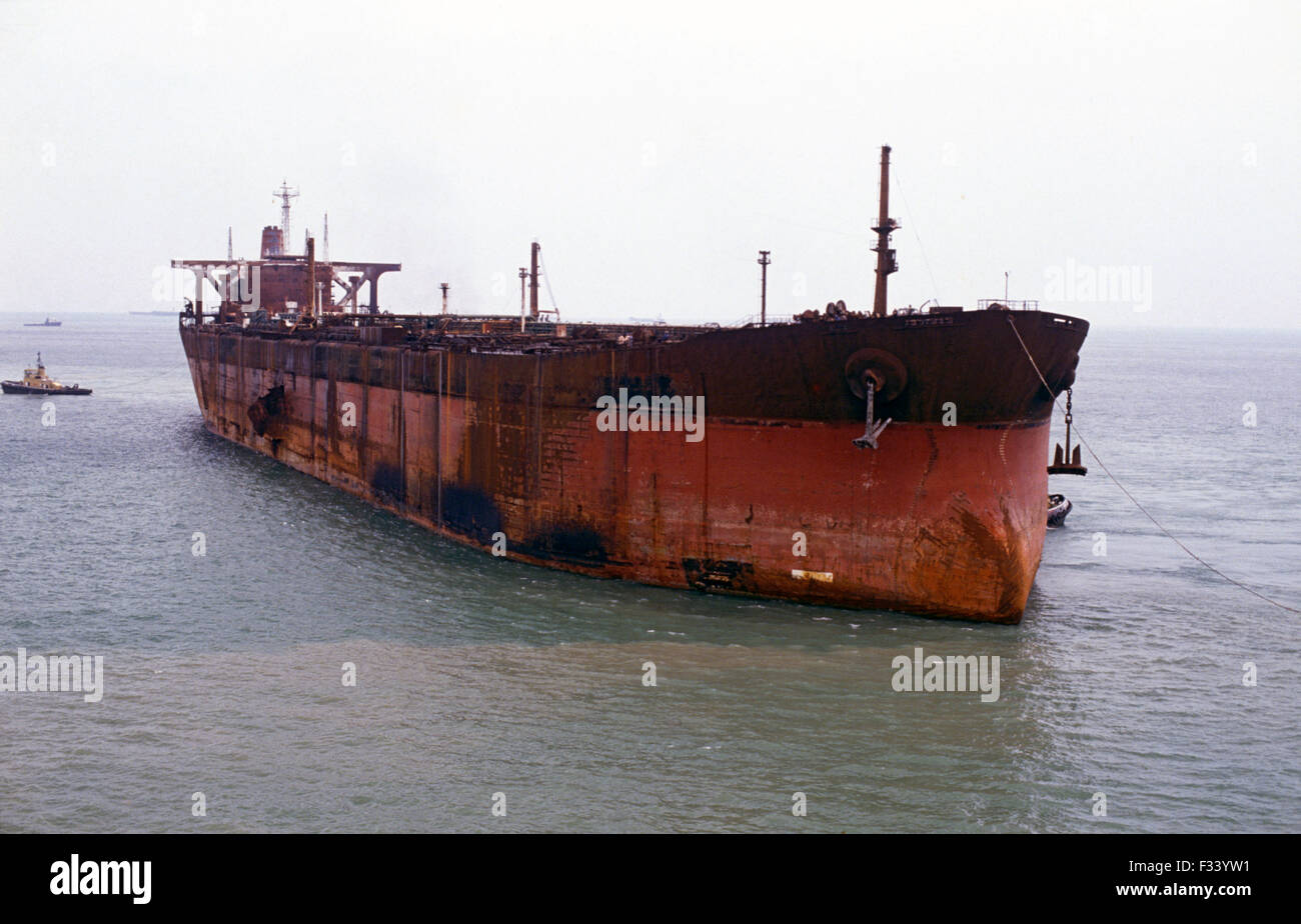 seawise giant happy giant being towed into singapore for