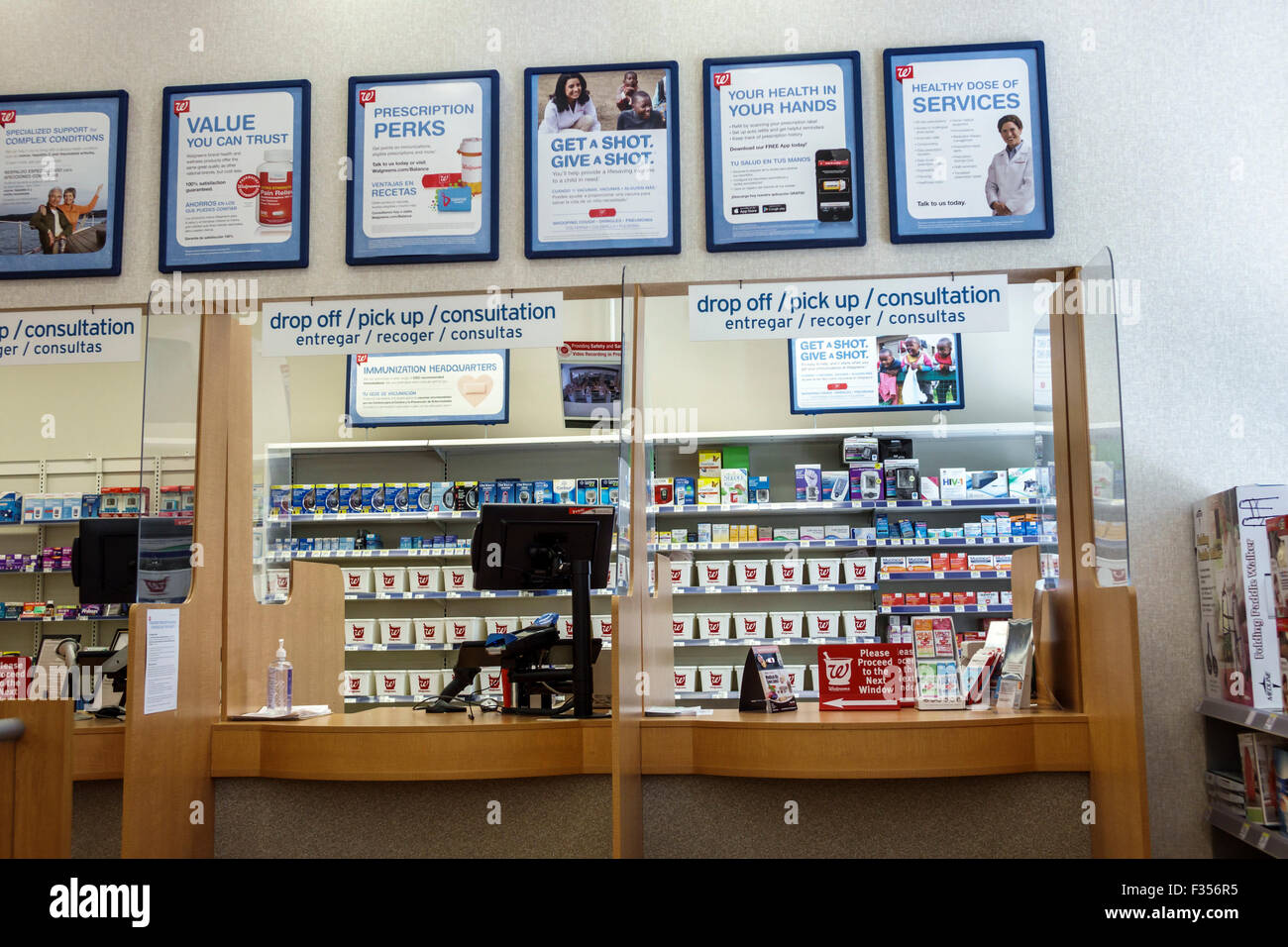Miami Beach Florida Walgreens Pharmacy Drugstore Prescription Pick Up Stock Photo Royalty Free
