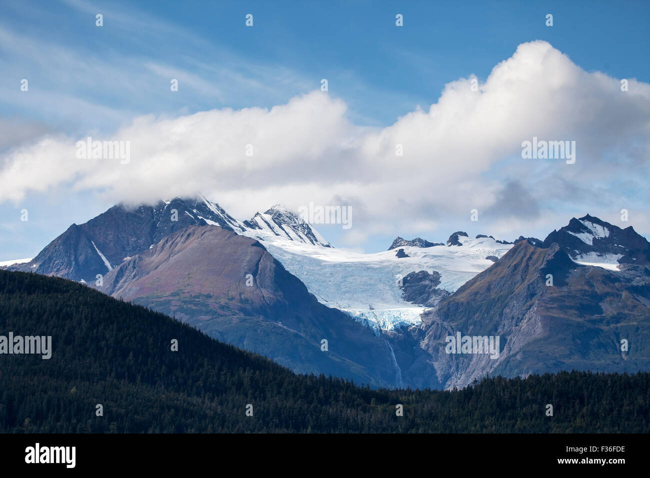 Alaska haines county - Rainbow Glacier In Southeast Alaska Near Haines In Summer With Clouds And Blue Sky