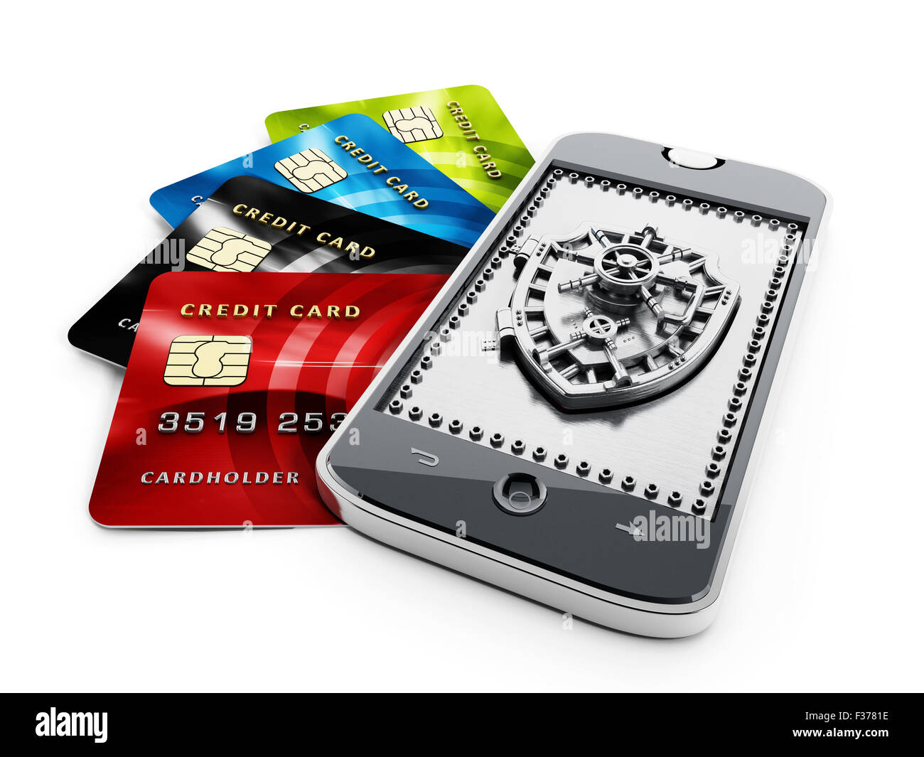 Credit cards and shield shaped vaulted door on smartphone  sc 1 st  Alamy & Credit cards and shield shaped vaulted door on smartphone Stock ...