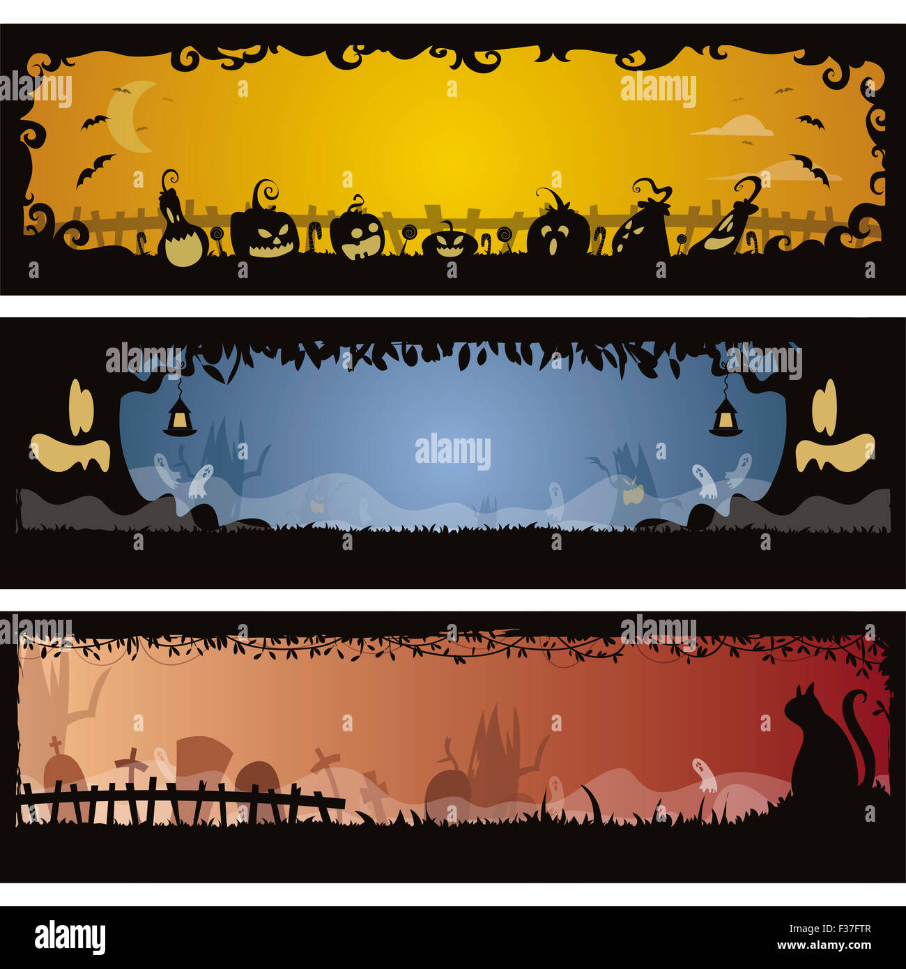 Set of 3 Halloween banners in editable vector file Stock Photo ...