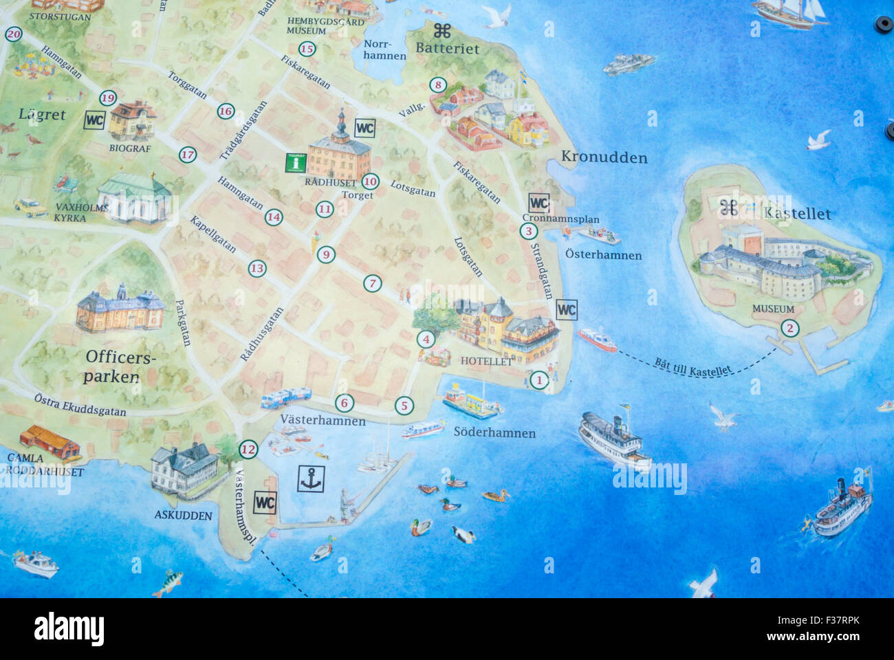 Map Of Vaxholm Near Stockholm Sweden Stock Photo Royalty Free - Sweden map search