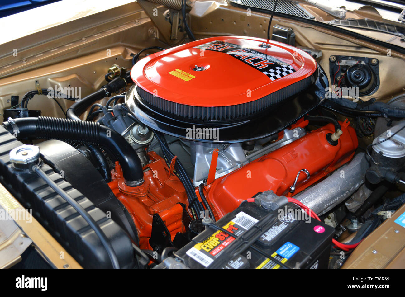 A Dodge 440 Six Pack Engine On Display At A Car Show Stock