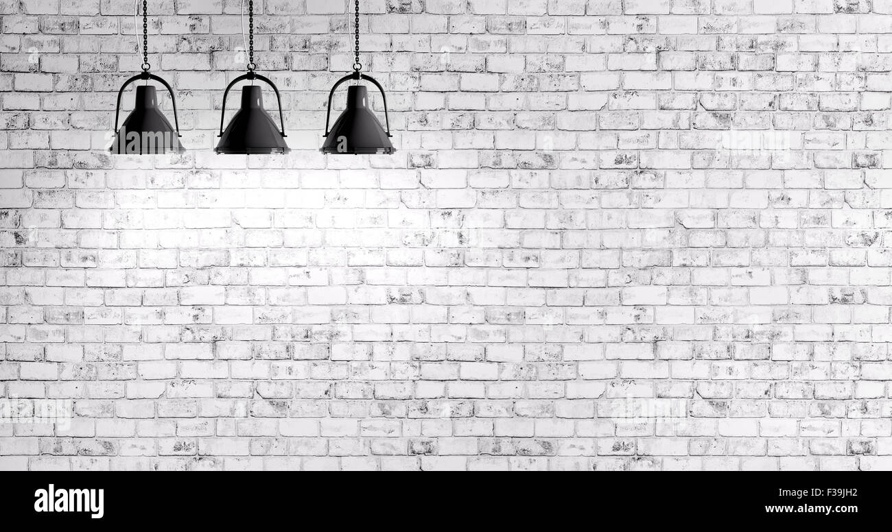 White Brick Wall Lights : White Brick Wall With Three Lamps Background Stock Photo, Royalty Free Image: 88107966 - Alamy