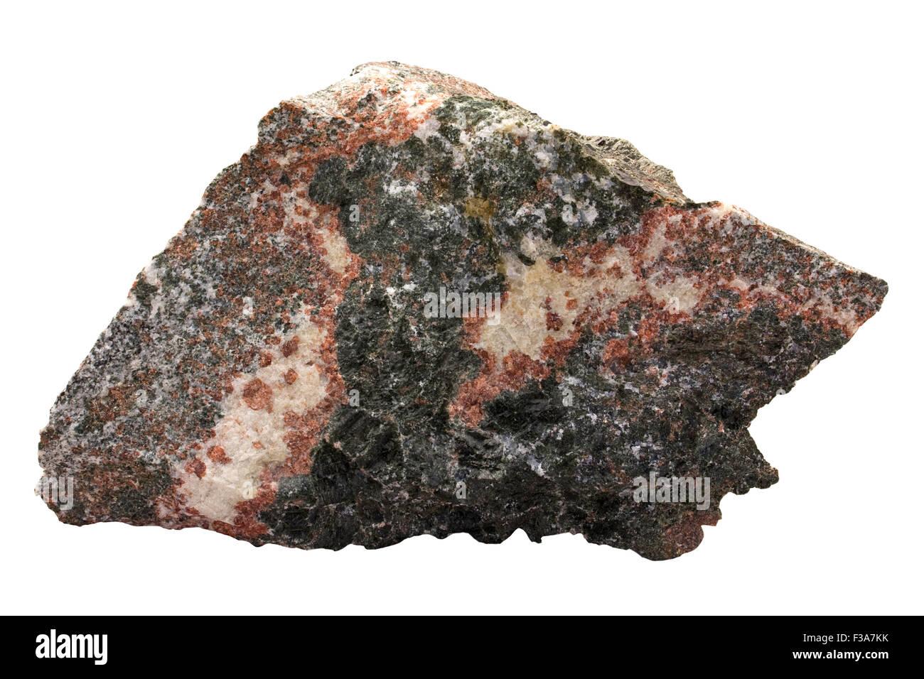 Metamorphic corona reactions - coronite as a rock sample. Red is ...