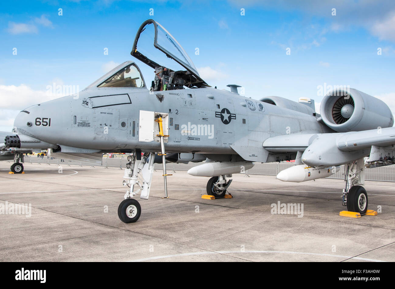 Fairchild Republic A-10 Thunderbolt II (parked) with cockpit canopy open and boarding & A 10 Thunderbolt Ii Stock Photos u0026 A 10 Thunderbolt Ii Stock ...