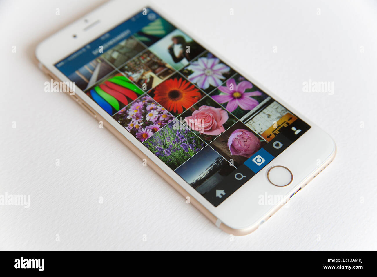 iphone 6 gold and white. gold and white apple iphone 6 with an instagram photo feed against a background iphone