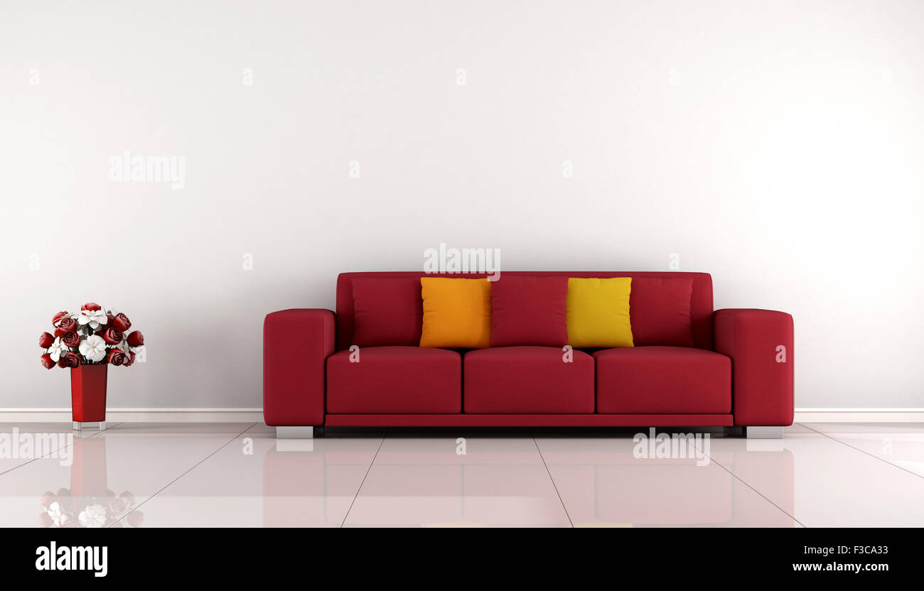Living Room With Red Sofa Minimalist Living Room With Red Sofa And White Wall 3d Rendering
